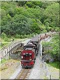 SH5947 : Welsh Highland Railway train crossing Bryn-y-Felin Bridge by David Tyers