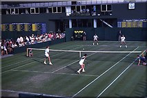 TQ2472 : Doubles match on outside court at Wimbledon 1988 by Barry Shimmon