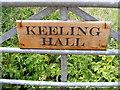TG0424 : Keeling Hall sign by Adrian Cable
