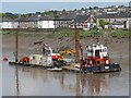 ST3188 : Multi-Cat work boat and pontoon, River Usk, Newport by Robin Drayton