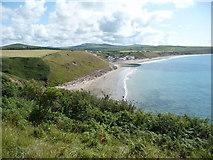 SH1626 : Porth Simdde and Aberdaron from the Lleyn Coastal Path by Jeremy Bolwell