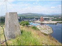 NS3974 : Trig point on Dumbarton Rock by John Ferguson
