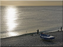 SY6873 : Evening fishing Chesil cove, Portland. by sue hogben