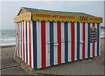 SY6879 : Last traditional beach hut standing on Weymouth beach by sue hogben