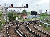 TQ2775 : Signals at Clapham Junction Station by Christine Johnstone