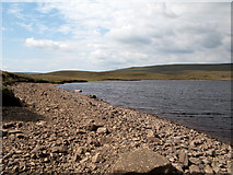NY7830 : Draw down on shore of Cow Green Reservoir by Trevor Littlewood