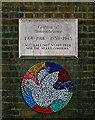TQ3087 : Mosaic dove of peace, St Mellitus Church, London N4 by Jim Osley