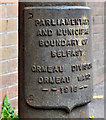 J3570 : Boundary post, south Belfast (2) by Albert Bridge