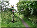 NU2131 : Signpost and footpath by Rose and Trev Clough