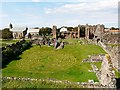 NU1241 : Grass labyrinth, Lindisfarne Priory by Rose and Trev Clough