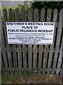 TM4360 : Brethren's Meeting Room sign by Adrian Cable