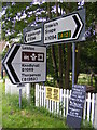 TM4159 : Roadsigns on the A1094 Aldeburgh Road at Black Heath Corner by Geographer