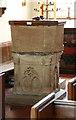 TL4845 : St Peter, Duxford - Font by John Salmon