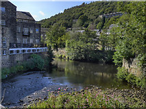 SD9927 : River Calder, Hebden Bridge by David Dixon