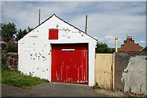 NS6113 : Two red doors at New Cumnock by Walter Baxter