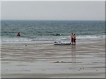 NZ2796 : Bathers on Druridge Beach by Oliver Dixon