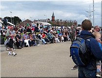 J3731 : Crowds on the Promenade at Newcastle waiting the arrival of the Red Arrows  by Eric Jones