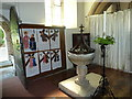 SU3543 : All Saints, Upper Clatford: font by Basher Eyre