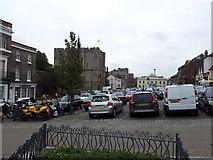 TL8564 : Bury St Edmunds Abbey gate & car park by Helen Steed