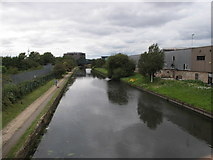 TQ2182 : Grand Union Canal, view West  from footbridge by Hythe Road by David Hawgood