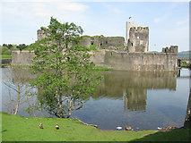 ST1587 : View of Caerphilly Castle from the south by Nick Smith