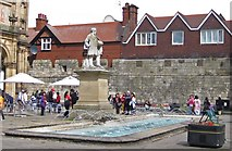 SE6052 : Fountain and statue in front of the City Art Gallery, York by Pauline E