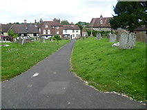 TQ6668 : Church path to St Mary Magdalene, Cobham by Marathon