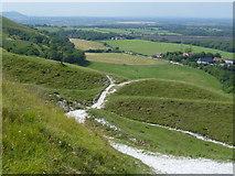 TQ2411 : Tracks on Fulking Escarpment by Shazz