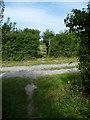 TQ2412 : Footpath crossing farm road north of Fulking by Shazz