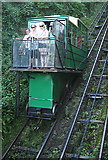 SS7249 : Lynton and Lynmouth: car descending the cliff railway by Martin Bodman