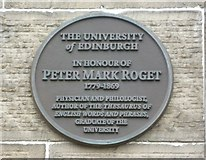 NT2572 : Peter Mark Roget plaque, George Square by kim traynor