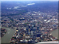 TQ3779 : Canary Wharf and London Olympics site from the air by Thomas Nugent