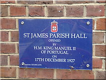 TQ1572 : St James Church Hall - Commemorative Plaque by Rob Gill