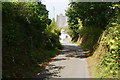 SN0538 : Lane approaching St Mary's Church, Newport by Bill Boaden