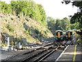 TQ3556 : Woldingham Station: passing trains by Stephen Craven
