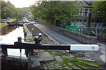 SD9927 : Resurfacing the towpath by Black Pit Lock, Hebden Bridge by Phil Champion