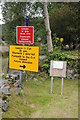 SH5639 : Closed footpath, Tremadog by Philip Halling