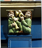TQ4085 : Wooden carved relief of musicians, Forest Gate by Jim Osley