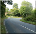 SO3117 : Sharp bend ahead, Hereford Road, Triley Mill by Jaggery