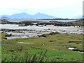 NM4368 : Salt marsh, beach and tidal rocks at Portuairk by Oliver Dixon