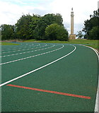 SP6737 : Stowe Park, athletics track by Graham Horn