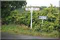 SX8879 : Signpost and sign at Biddlecombe cross by roger geach