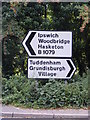 TM2250 : Roadsigns on the B1079 at Grundisburgh by Adrian Cable