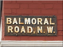 TQ2284 : Sign for Balmoral Road, NW2 by Mike Quinn