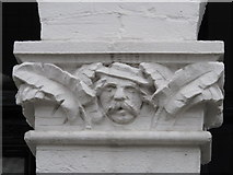 TQ2284 : Stone head on doorway, Chaplin Road, NW2 by Mike Quinn