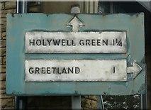 SE1020 : Close view of pre-Worboys road sign, Victoria Road, Elland by Humphrey Bolton