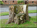 SJ9726 : Stylish wooden seat on The Green at Weston, Staffordshire by Roger  Kidd