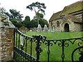 SP8025 : Holy Cross Hoggeston- church gates by Basher Eyre