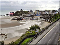 SN1300 : Tenby North Beach, Harbour and Castle Hill (low tide) by David Dixon