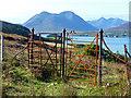 NG5538 : Gate on the path above Oskaig by John Allan